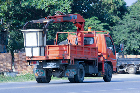 CHIANGMAI, THAILAND - DECEMBER  8 2014: Bucket truck of Sanphesue Subdistrict Administrative Organization. Photo at road no.121 about 8 km from downtown Chiangmai, thailand.