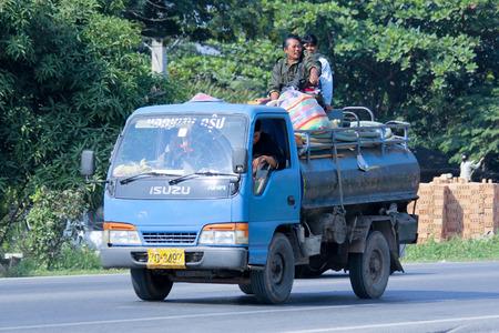 CHIANGMAI, THAILAND - DECEMBER  8 2014:  Sewage truck of Navin Jaruen Yorn Transport. Photo at road no.121 about 8 km from downtown Chiangmai, thailand.