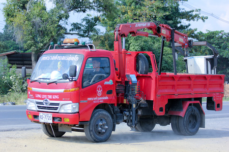 CHIANGMAI, THAILAND - DECEMBER  9 2014:  Bucket truck of Maefak Subdistrict Administrative Organization. Photo at road no.121 about 8 km from downtown Chiangmai, thailand.