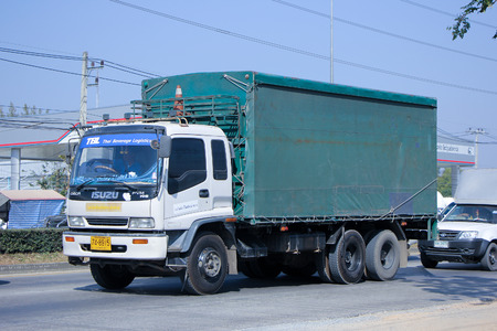 CHIANG MAI, THAILAND - DECEMBER  25 2014:  Truck of TBL. Thai Beverage Logistic. Service for control pest in home and Building.  Photo at road no.1001 about 8 km from city center, thailand.