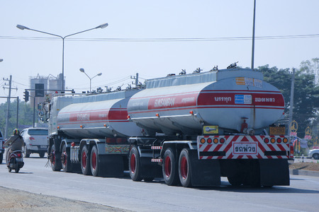 CHIANG MAI, THAILAND - DECEMBER  25 2014:   Water Tank Truck of Suksamran Transport.   Photo at road no.1001 about 8 km from city center, thailand.