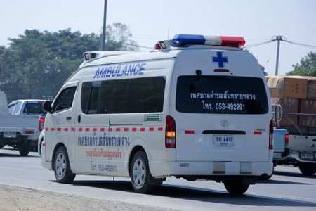 CHIANG MAI, THAILAND - DECEMBER  25 2014: Ambulance van of Sansailuang Subdistrict Administrative Organization.  Photo at road no.1001 about 8 km from city center, thailand.