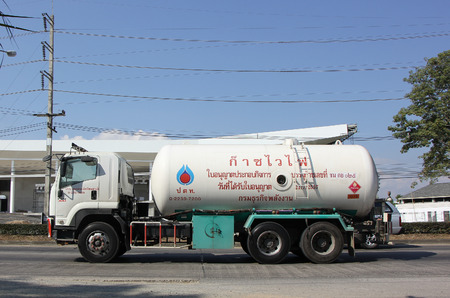ngv: CHIANG MAI, THAILAND - DECEMBER  30 2014: Jomthong Gas supply Company Truck. Photo at road no.1001 about 8 km from city center, thailand.