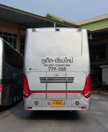 15 18: CHIANG MAI, THAILAND - MARCH 18 2015: New Scania 15 Meter bus of Greenbus company. Route Phuket and Chiangmai. VIP bus with personal lcd tv, Photo at Chiangmai bus station, thailand.