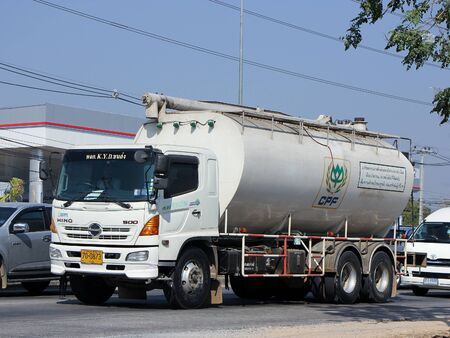 CHIANG MAI, THAILAND - MARCH 5 2015:  Animal food Tank Truck of KYD Transport. Photo at road no.1001 about 8 km from city center, thailand.