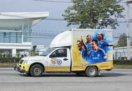 CHIANGMAI, THAILAND -JANUARY 15 2015:  Chelsea football Team on Container car of  Sing Phatthana Chiangmai for Beer Container. Photo at road no 1001 about 8 km from downtown Chiangmai, thailand.