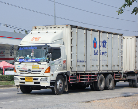 cs: CHIANGMAI, THAILAND -JANUARY 20 2015: Trailer Container Cargo Truck of Cs Transport and Logistic Company. Photo at road no.1001 about 8 km from city center, thailand.