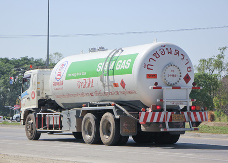 ngv: CHIANG MAI, THAILAND - JANUARY 23 2015:  Siam Gas Company Tank Truck.  Photo at road no 1001 about 8 km from downtown Chiangmai, thailand. Editorial