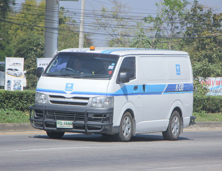 CHIANGMAI, THAILAND -JANUARY 23 2015:  Money delivery Van of KTB General Services Company. Photo at road no.1001 about 8 km from downtown Chiangmai, thailand.