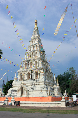 CHIANGMAI THAILAND FEBRUARY 11 2015: White Triangle Pagoda at ancient buddhist temple Wat Chedi Liam at Wiang Kum Kam Chiangmai Thailand.