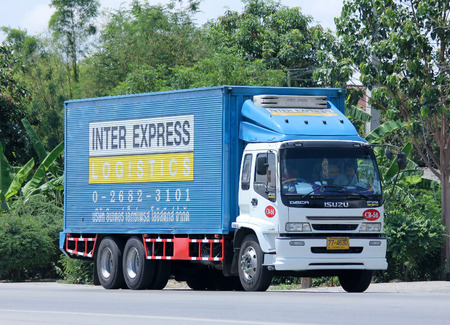 inter: CHIANGMAI THAILAND  JUNE 4 2015:  Container truck of Inter Express Logistics. Photo at road no.121 about 8 km from downtown Chiangmai thailand.