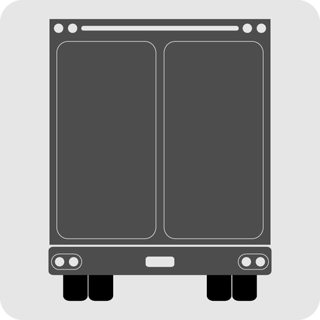commercial van: Back view of Truck icon vector
