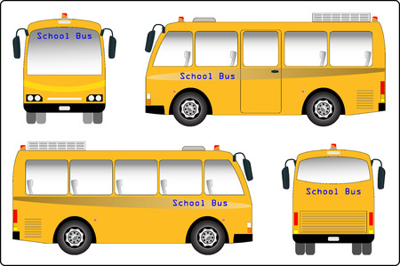 mini bus: School bus, Mini bus of School bus vector. Side, Font and back view.