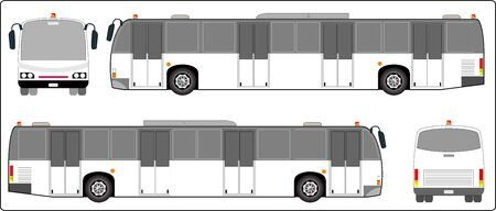 low floor: Airport bus, Mini bus of School bus vector. Side, Font and back view.