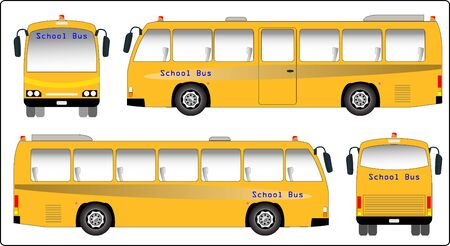 public safety: School bus, Mini bus of School bus vector. Side, Font and back view.