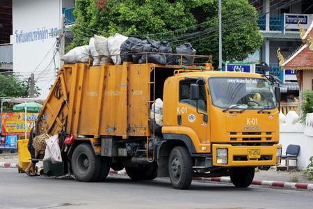 dispose: CHIANGMAI, THAILAND -JULY 18 2015:  Garbage truck of ChiangMai Municipality. Photo at Chiangmai Bus station,Chiangmai, thailand.