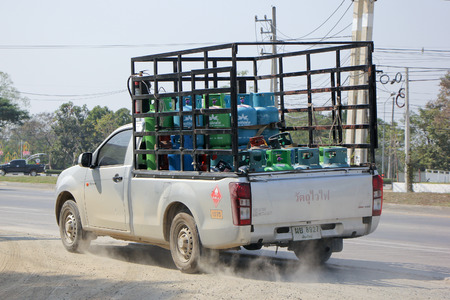 ngv: CHIANGMAI , THAILAND- FEBRUARY 5 2015: Gas Pickup truck of Picnic  Orchid  gas company. Photo at road no 121 about 8 km from downtown Chiangmai, thailand.