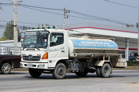 CHIANGMAI , THAILAND -FEBRUARY 6 2015: Private Water Tank Truck. For Delivery Pure Water. Photo at road no 121 about 8 km from downtown Chiangmai, thailand.
