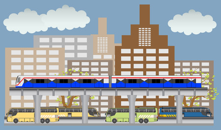 electric train: Sky train and bus vector, Bangkok Thailand.