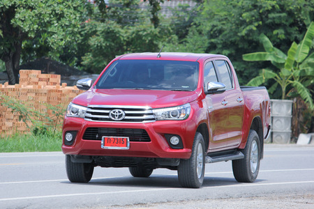 CHIANGMAI, THAILAND -AUGUST 8 2015:  Private Pickup car, Toyota Hilux Revo. Photo at road no 121 about 8 km from downtown Chiangmai, thailand.