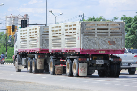 truckload: CHIANGMAI, THAILAND -AUGUST 10 2015:  Trailer Dump truck of Viphavee Transport Company. Photo at road no.121 about 8 km from downtown Chiangmai, thailand.