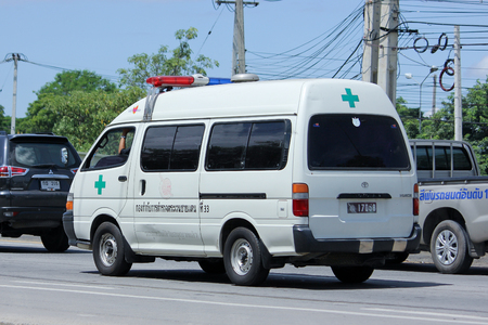 border patrol: CHIANGMAI, THAILAND -AUGUST 10 2015:  Ambulance Van of Police of Border Patrol Police. Photo at road no.121 about 8 km from downtown Chiangmai, thailand.