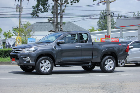 CHIANGMAI, THAILAND -AUGUST 13 2015:  Private Pickup car, Toyota Hilux Revo. Photo at road no 121 about 8 km from downtown Chiangmai, thailand.