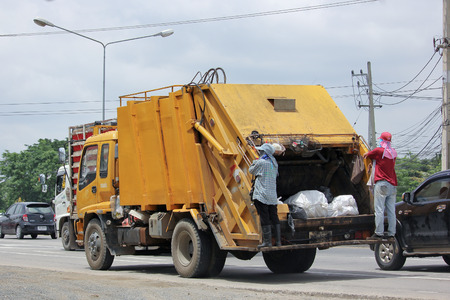 environmental sanitation: CHIANGMAI, THAILAND -AUGUST 13 2015: Garbage truck of Nongjom Subdistrict Administrative Organization. Photo at road no 121 about 8 km from downtown Chiangmai, thailand. Editorial