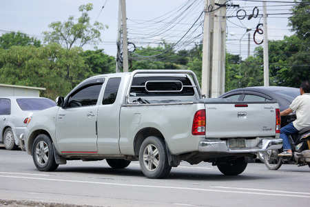 CHIANGMAI, THAILAND -AUGUST 20 2015:  Private Pickup car, Toyota Hilux. Photo at road no 121 about 8 km from downtown Chiangmai, thailand.