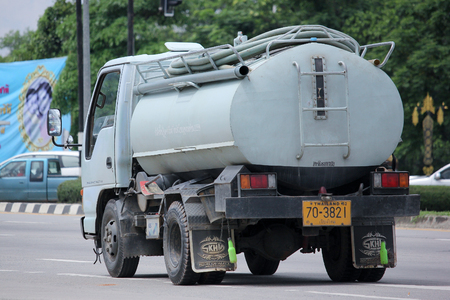 septic tank: CHIANGMAI, THAILAND -AUGUST 20 2015:  Private of Sewage truck. Photo at road no.121 about 8 km from downtown Chiangmai, thailand.