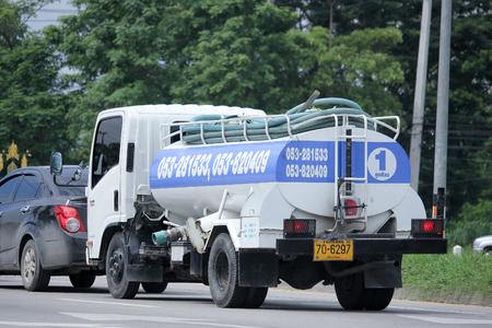 CHIANGMAI, THAILAND -AUGUST 20 2015:  Sewage truck of Chiangmai Sewage Management. Photo at road no.121 about 8 km from downtown Chiangmai, thailand. Editorial