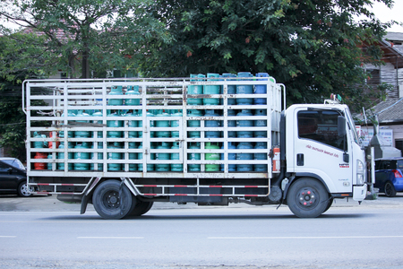 ngv: CHIANGMAI, THAILAND -AUGUST 22 2015: Jomthong Gas supply Company Truck. Photo at road no.1001 about 8 km from city center, thailand.