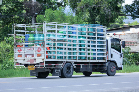 gas supply: CHIANGMAI, THAILAND -AUGUST 22 2015: Jomthong Gas supply Company Truck. Photo at road no.1001 about 8 km from city center, thailand.