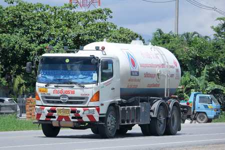 gas supply: CHIANGMAI, THAILAND -AUGUST 22 2015: Chiangrai Gas supply Company Truck. For PTT LPG Gas. Photo at road no 121 about 8 km from downtown Chiangmai, thailand.