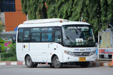 mini bus: CHIANGMAI, THAILAND -SEPTEMBER 26 2015:  Yutong Mini Bus. New bus of Chiangmai city bus or CMB. CMB management by ChiangMai Municipality. Photo at Chiangmai Bus station,Chiangmai, thailand.