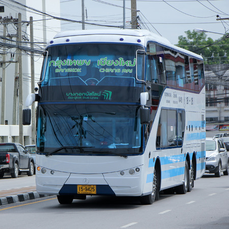 sub station: CHIANGMAI, THAILAND -SEPTEMBER 26 2015: Bus No. 18-26 of Bangkok bus lines company bus  Sub Company of Sombattour . Route Bangkok and Chiangmai. Photo at Chiangmai bus station, thailand.