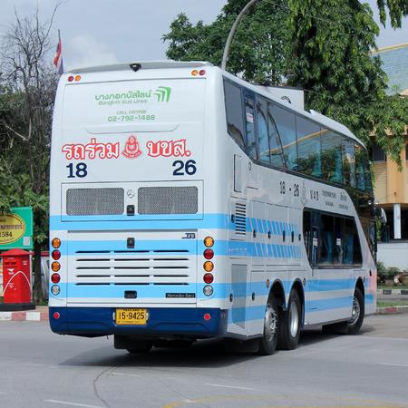 sub station: CHIANGMAI, THAILAND -SEPTEMBER 26 2015: Bus No. 18-26 of Bangkok bus lines company bus  Sub Company of Sombattour . Route Bangkok and Chiangmai. Photo at Chiangmai bus station, thailand.