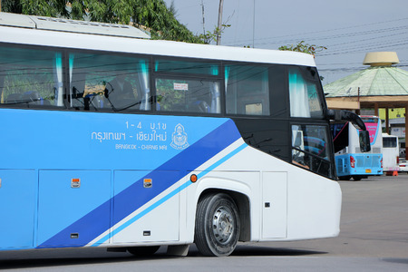 sub station: CHIANGMAI, THAILAND -SEPTEMBER 26 2015: Bus of Blue9 band, Sub Brand from Greenbus Company. Route Bangkok and Chiangmai. Photo at Chiangmai bus station, thailand. Editorial