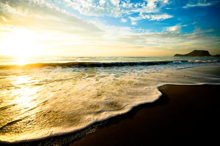 Beautiful sunrise over sea of Thailand. Retro filter
