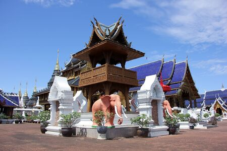 buddhist temple: CHIANGMAI, THAILAND -OCTOBER  14  2015: Banden Temple, Beautiful temple in Maetang District, Chiangmai, Thailand.
