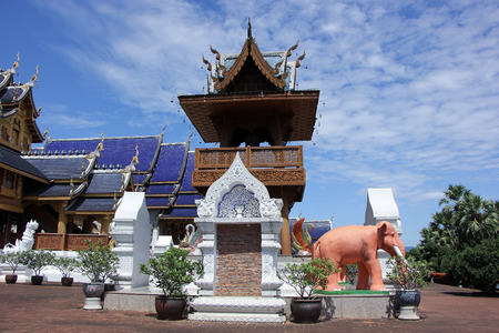 thailand art: CHIANGMAI, THAILAND -OCTOBER  14  2015: Banden Temple, Beautiful temple in Maetang District, Chiangmai, Thailand.