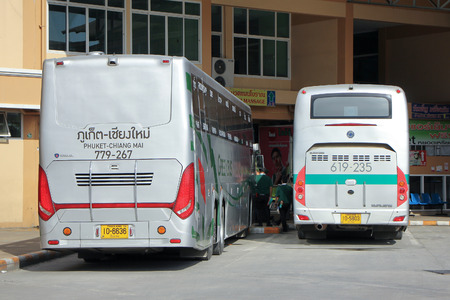 coach bus: CHIANGMAI, THAILAND -SEPTEMBER 30 2015: New Scania 15 Meter bus of Greenbus company. Route Phuket and Chiangmai. VIP bus with personal lcd tv, Photo at Chiangmai bus station, thailand.