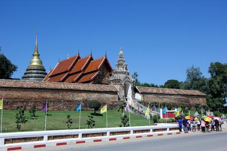 pra: LAMPANG, THAILAND -OCTOBER  21 2015:  Wat pra that Lampang Luang. Lanna style Buddhist temple in Lampang Province, Thailand.