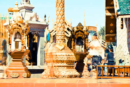 hariphunchai: Wat Phra That Hariphunchai, Lamphun Province, Thailand. Retro Effect Stock Photo