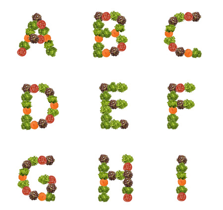 made: alphabet letters made from vegetables