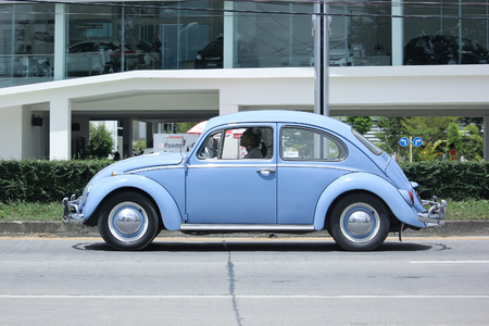 CHIANGMAI, THAILAND -SEPTEMBER  5 2015:   Vintage Private Car, Volkswagen beetle. Photo at road no.1001 about 8 km from downtown Chiangmai, thailand.