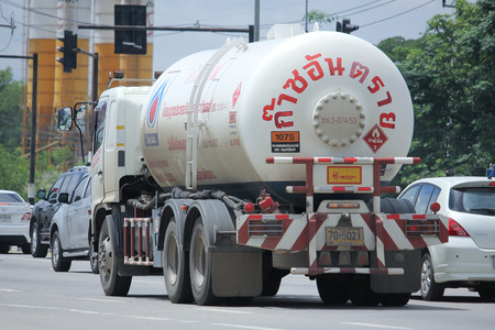 ngv: CHIANGMAI, THAILAND -SEPTEMBER  5 2015: PTT LPG Gas truck. Photo at road no 121 about 8 km from downtown Chiangmai, thailand.