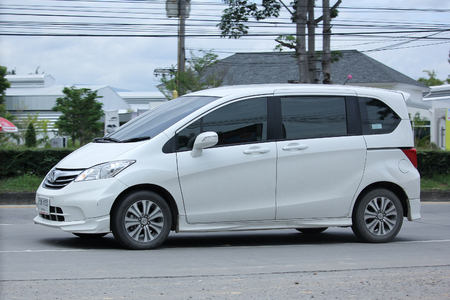 freed: CHIANGMAI, THAILAND -SEPTEMBER  7 2015: Private Honda Freed van. Photo at road no.121 about 8 km from downtown Chiangmai, thailand.