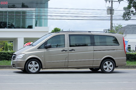 asian travel: CHIANGMAI, THAILAND -SEPTEMBER  10 2015:  Private Benz Vito Van. Photo at road no.121 about 8 km from downtown Chiangmai, thailand.