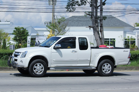 CHIANGMAI, THAILAND -SEPTEMBER 28 2015: Private Pick up Truck, Isuzu D-max,dmax. Photo at road no 121 about 8 km from downtown Chiangmai, thailand.